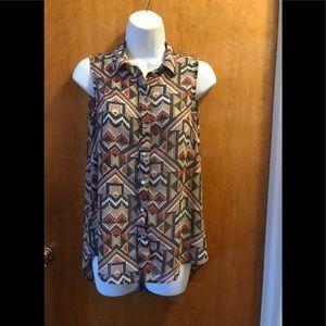 Tribal Aztec multi-color Button down Print blouse